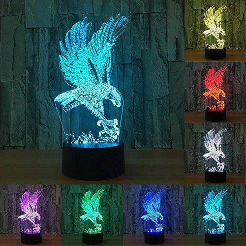 Vol Grand Aigle Forme Nuit Lumière Colorée Faucon 3D de Bande Dessinée Lampe de Table pour le Bureau Hôtel Chambre Bar Capteur Tactile