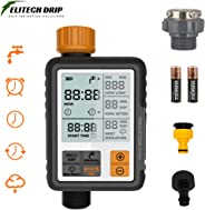 Elitech Drip Irrigation Water Timer | Digital Controller (Fully Automatic) | Adapters + Batteries Included, Water Resistant