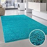 Teppich Uni Langflor Shaggy Modern Einfarbig Rechteckig Wohnzimmer Schlafzimmer, Farbe:Türkis, Größe in cm:200 x 290 cm