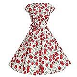 YAMEE Damen Kleid Abendkleid Retro Chic 1950er Audrey Hepburn Kleid/Cocktailkleid Rockabilly Swing Kleid (M, Kirschen)