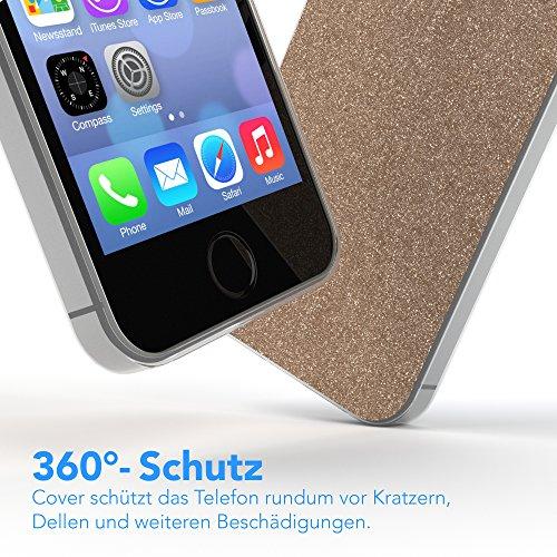 """Apple iPhone SE / 5S / 5 Hülle, EAZY CASE Cover """"Henna"""" - Premium Handyhülle mit Indischer Sonne - Transparente Schutzhülle in Blau / Pink Transparent Champagner"""