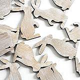 fröhliche Oster-Deko Streu-Deko Tisch-Deko Bastel-Deko Hase aus Holz ca. 2,5 x 5 cm Set a 24 Stück