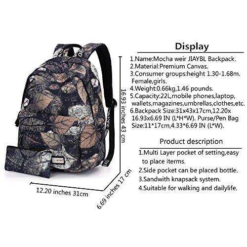 Mocha weir JIAYBL Laptop Taschen Schultern Kinder Schultaschen Rucksack Hochschule Mädchen Canvas Pack reisen (Graue Blätter) Graue Blätter
