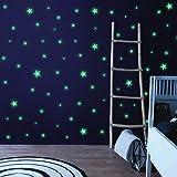 Husmeu Leuchtsterne Leuchtpunkte Selbstklebend, 637Pcs Mond Sternenhimmel Leuchtsticker Wandtattoo mit Starker Leuchtkraft Fl