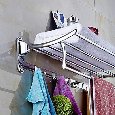 BBSLT-Acero inoxidable doble toallero, toallero fuerte fuerte, activo doblado toallero, accesorios de hardware de baño, gancho portacinturones, no teniendo fuertes bastidores se