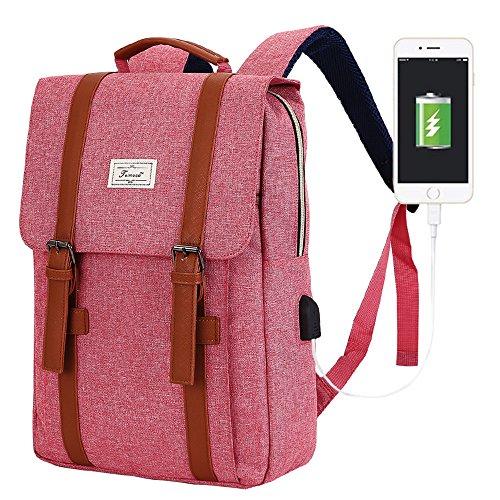 R207 15.6inch Computer Bag Casual Unisex Waterproof Oxford School Backpack Women/ Men School Backpack Rucksack (PINK)