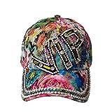 Chapeau de Soleil Femmes Ladies Sun Hat Casquette de Baseball Style VIP NY USA Couleur Fleurs de Cristal (VIP1)