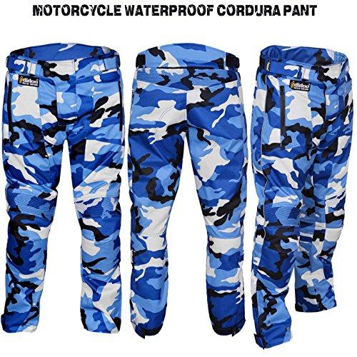 *Motorrad Hose CE und Cordura Textil Wasserdicht Camo Pant blau, Herren, blau*