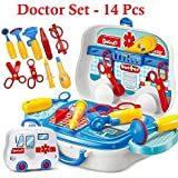 Funny Teddy Doctor Set for Kids - 14 Pcs | Doctor Hospital Clinic Pretend Playset in a Suitcase Trolley (High Quality)