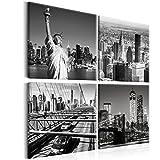 murando - Bilder New York 80x80 cm - Leinwandbilder - Fertig Aufgespannt - Vlies Leinwand - 4 Teilig - Wandbilder XXL - Kunstdrucke - Wandbild - Canvas - City Stadt Brücke schwarz weiß d-B-0176-b-i