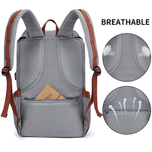 Canvas Rucksack, Casual Daypack mit USB Charge Port Backpack Schulrusack Laptoprucksack für Freitzeit Arbeit Campus Schule Reise, Grau - 5