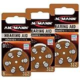 ANSMANN Hörgerätebatterien 312 braun 18 Stück - Zink Luft Hörgeräte Batterien Typ 312 P312 ZL3 PR41 mit 1,4V - Knopfzelle mit besonders langer Laufzeit für Hörgerät Hörverstärker & Hörhilfe