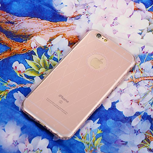 Case for iPhone 6P/6SP Translucent Cover Flexible Soft TPU Anti-Scratch Bling Sparkle Shining Style for Apple iPhone 6/6S Plus - Pink Pink