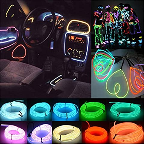 Possbay EL Wire Decorations 2m LED Tube Rope Flexible Neon Glow Light Lamp with 12V Inverter for Car Party Decor Dancing Wedding Home Christmas Trees