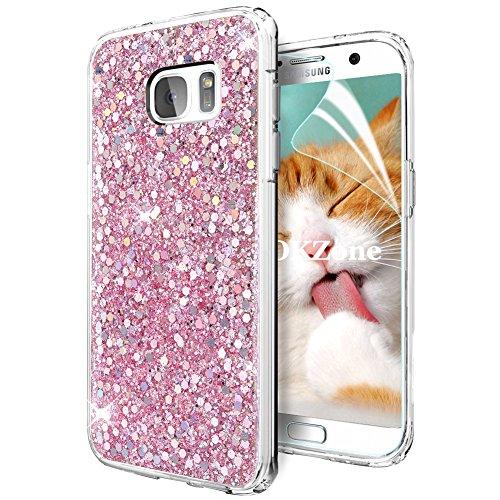 Galaxy S7 Hülle [mit HD-Schutzfolie],OKZone Luxus Glitzer Bling [Glänzende Mode][Ultra Dünn] Designer Weich TPU Bumper Case Silikon Schutzhülle Handy Tasche Rückseite Hülle Etui Cover TPU Bumper Schale für Samsung Galaxy S7 (Rosa)