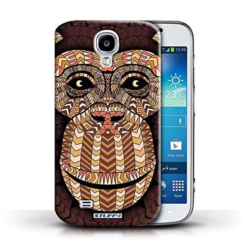 Coque en plastique pour Samsung Galaxy S4/SIV Collection Motif Animaux Aztec - Tigre-Mono Singe-Orange