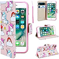 """SmartLegend iPhone 7 Wallet Case, iPhone 7 Leather Case, Folio Flip Case Cover for Apple iPhone 7 4.7"""" with Strap, Cute Cartoon Unicorns Book Style PU Full Body Protection with [Kickstand] Stand Function, Card Slots Holster Purse, Soft TPU Silicone Inner Back Cover SmartPhone Protective Skin Cover for Apple iPhone 7 4.7"""" - Unicorn"""