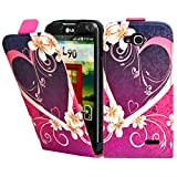 LG L90 D405 / D405N Premium Leder Flip Case - Rot Hearts Pu