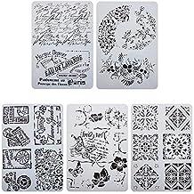 KOBWA 5Pcs Kit de plantillas de pintura hueca hacia fuera de patrón mixto, patrones Plantillas
