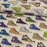 Stoffe Werning Dekostoff Sneaker Natur bunt Canvasstoff -