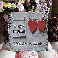 Shabby Style Holzschild - Beste Patentante ~ Herzen ~ Weihnachten ~ Geschenk