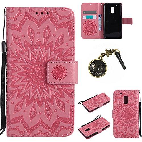 Preisvergleich Produktbild für Motorola Moto G4 Play Hülle, Klappetui Flip Cover Tasche Leder [Kartenfächer] Schutzhülle Lederbrieftasche Executive Design +Staubstecker (7GG)