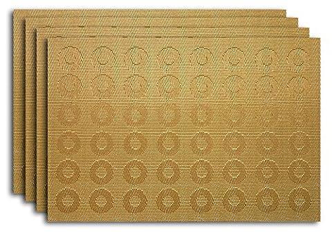 Secret Life (TM) Set of 4/6Art Style Decor Home vinyle Woven Dinner Table Placemat Set Circles Gold