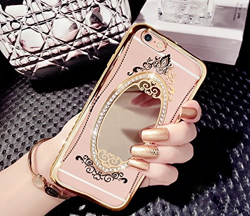 iPhone 6s Hülle, iPhone 6 Hülle, Vandot Spiegel Mirror Case Handytasche TPU Silikon für iPhone 6 6s Plating Transparent Schutzhülle Luxus Diamant Bling Shining Strass Case Cover Ultra Dünn Silikon Wei Mirror Gold