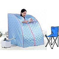 Bain de Vapeur mobile Sauna Box Spa Pliable Ménage à Vapeur Télécommande Température Bleu