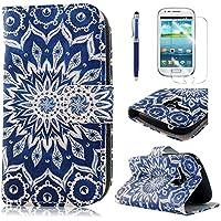 PhoneCase Blume Kreis Muster PU Leder Wallet Schutzhülle mit Display Schutzfolie für Samsung Galaxy S3 mini inkl. Stylus Stift dunkelblau