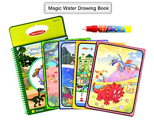 BBLIKE Magic Water Zeichnung Buch, 2 Wiederverwendbare Färbung Malerei Buch Mit 2 Magic Pen Reißbrett Jungen Mädchen Bildung Lernspielzeug Für Kinder (C) (Färbung Bücher Für Jungen)