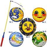 Unbekannt 2 TLG. Set: Lampion / Laterne + LED Laternenstab -  Mond & Sterne  - aus Papier - RUND - für Kinder Laternen Lampions - Papierlaterne - Figuren - Mädchen Ju..