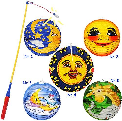 alles-meine.de GmbH 2 TLG. Set: Laterne / Lampion + LED Laternenstab -  lachendes Gesicht  - aus Papier - RUND - für Kinder Papierlaterne - Laternen Lampions - Figuren - für La..