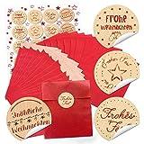 48 rote Papier-Tütchen Papiertüten Weihnachtstüten (13 x 18 cm) und 48 runde Aufkleber 4 cm
