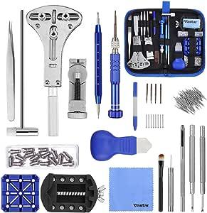 Vastar 177 Pcs Kit de Réparation Montres, Professionnel d'outils de Barre de Ressort Montre Bande Lien épingle Outil Ensemble avec étui