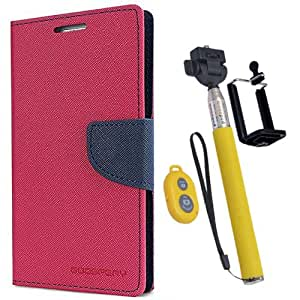 Aart Fancy Diary Card Wallet Flip Case Back Cover For Samsung 8262 - (Pink) + Remote Aux Wired Fashionable Selfie Stick Compatible for all Mobiles Phones By Aart Store