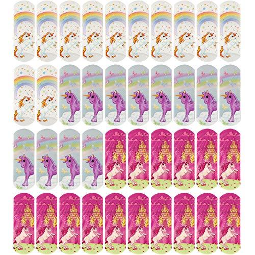 COM-FOUR® 40x Patch pour enfants avec motifs de licorne, bandes de plâtre de différentes couleurs, hydrofuge, testé en clinique, 57 x 19 mm (40 pièces - Licorne)