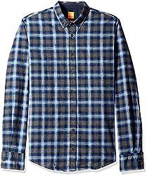 BOSS Orange Mens Edipoe Lightweight Tartan Plaid Flannel Button Down Shirt, Blue, Small