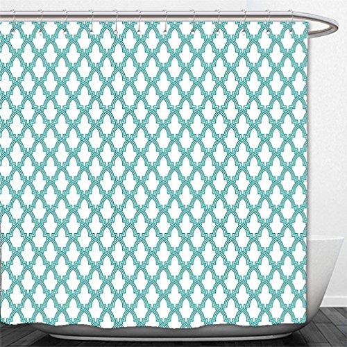 Jkimiiscute Dusche Vorhang Traditionellen House Decor Marokkanische Mosaik Fliese Arabesque Muster Abstrakt Mitte Eastern Decor Türkis 60W * 72H Zoll