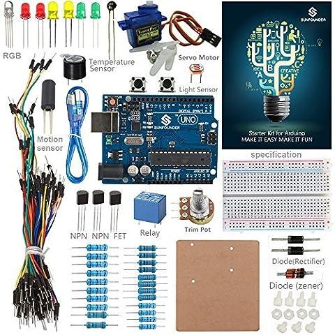 SunFounder Starter Kit Standard for Arduino Uno R3 Mega 2560 Nano Circuit Board Jumper Wires Sensors Breadboard Electronics With Uno Detail Manual