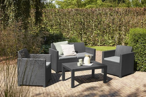 Allibert Lounge Set in Rattanoptik, Merano (2 Sessel, 1 Sofa, 1 Tisch), stabiles Kunststoff , grafit - 5