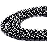 Cuentas sueltas redondas de obsidiana negra para hacer joyas, 4 mm, 6 mm, 8 mm, 10 mm, 12 mm, 14 mm