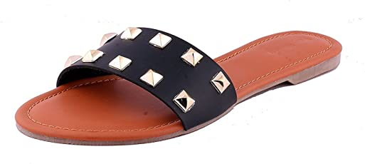 Rgk's Ladies Stud Strap Pyramid Flat Slipper Girls