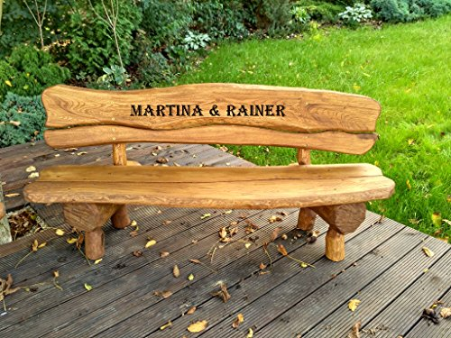 Gartenbank aus Massivholz mit Lasergravur von Ihrem Wunschtext (Ein Brett) | Parkbank aus Akazien-...