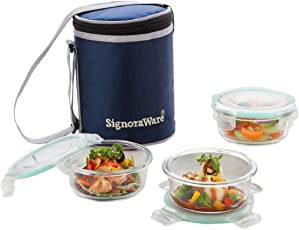 Signoraware Executive Glass Lunch Box Set with Bag, 390ml/16cm, 3-Pieces (with 3 seals), 1 bag, Transparent