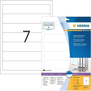 Herma 8620 Ordnerrücken blickdicht, schmal/kurz (192 x 38 mm weiß) 70 Ordner Etiketten, 10 Blatt A4 Papier matt, weiß, bedruckbar, selbstklebend