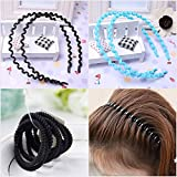 Maple Store New Combo Ponytail Holders Hair Elastic Rubber Bands Black - 10 Pcs+ Black Plastic Wave Hair Band – 1 Pc + Blue Plastic Wave Hair Band – 1 Pc Accessories For Girls/Women