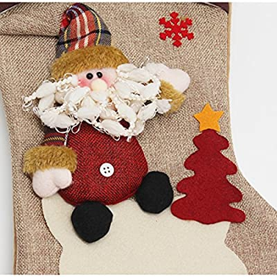 New Year Christmas Stockings Socks Plaid Santa Claus Candy Gift Bag Decoration-Santa Claus