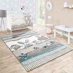 Alfombra habitación Infantil con Animales De Granja en Beige Crema Varios tamaños. Desde: 80 x 150 cm