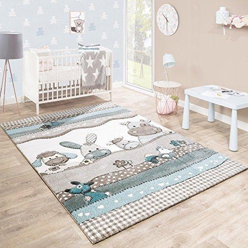 Paco Home Alfombra De Habitación Infantil Contorneada con Animales De Granja En Beige Crema Colores Pastel, tamaño:140x200 cm